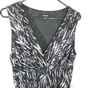 Nine West Womens Black Gray and White Print Dress